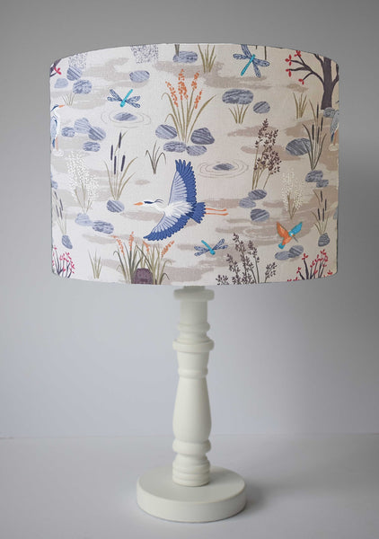 Cream Nature Wildlife Lampshade, Bird And River Scene Light Shade