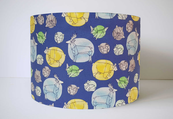 Blue Woodland Lampshade, Geometric Animals Light Shade
