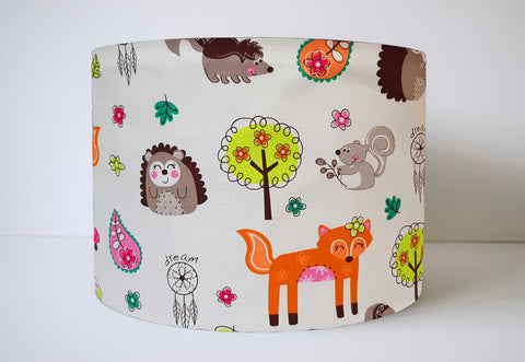 Woodland Animals Lampshade, Bohemenian Nursery Decor
