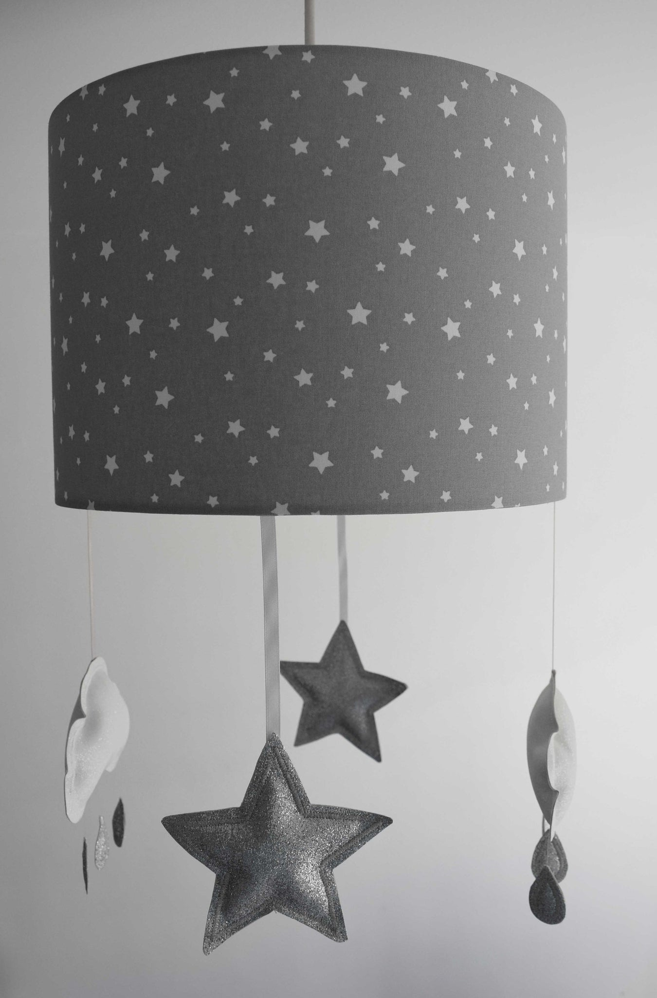 Silver Grey Mobile Lampshade, Star Lampshade With Star And Cloud Mobile