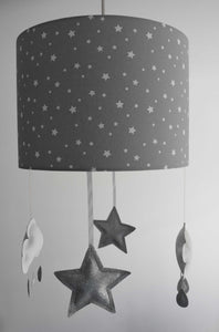 silver grey star lampshade with cloud and star mobile