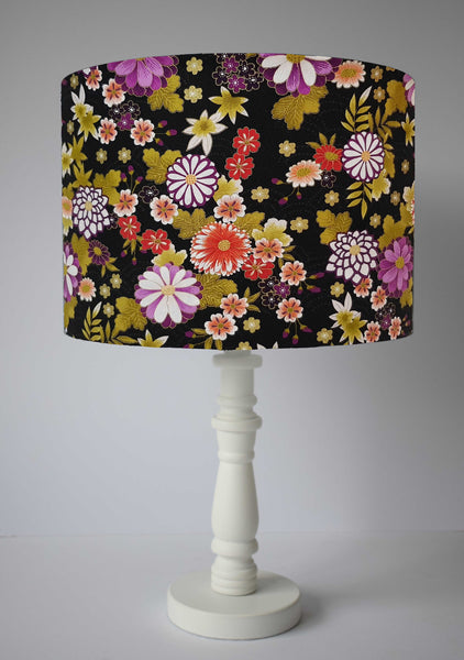 Black Japanese Floral Lampshade, Oriental Flowers Light Shade