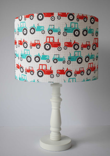 fun blue and red tractor table lamp shade