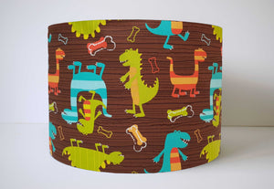 Brown Dinosaur Lampshade, Dinosaur Table Lampshade, Nursery Decor