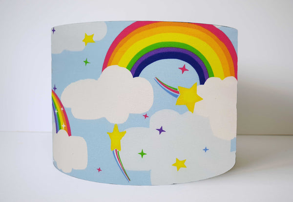 Bold rainbow and cloud lampshade