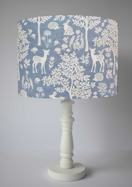 Scandi Woodland Lampshade, Blue Woodland Nursery Decor