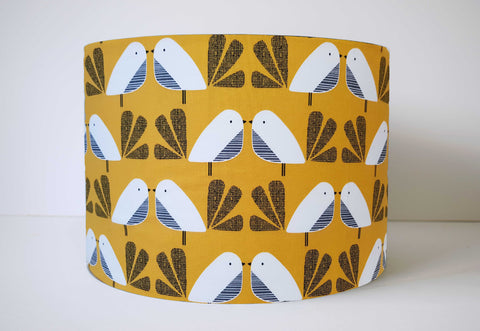 Mustard Bird Lampshade, 70s Retro Home Decor