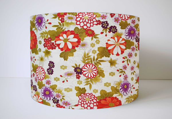 Cream Japanese Floral Lampshade, Oriental Flowers Bedroom Decor