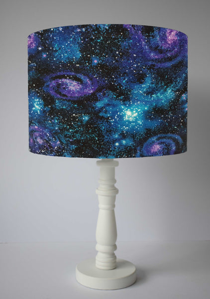 blue and purple galaxy table lamp shade for galaxy themed bedroom