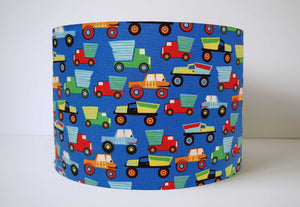 Mid Blue Truck Lamp Shade, Transport Nursery Themed Decor