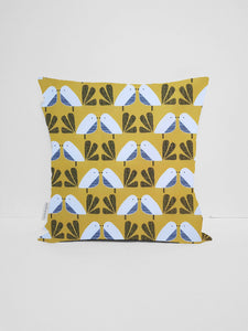 mustard yellow bird cushion cover