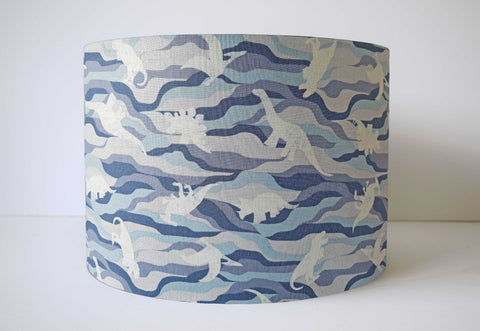Camo Blue Dinosaur Lampshade, Dinosaur Themed Bedroom Accessory