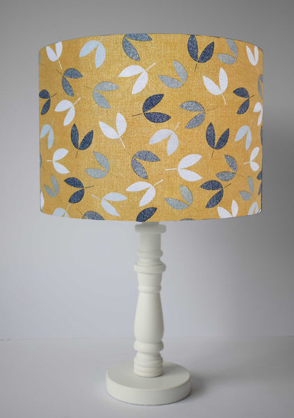 mustard yellow and grey seed table lampshade