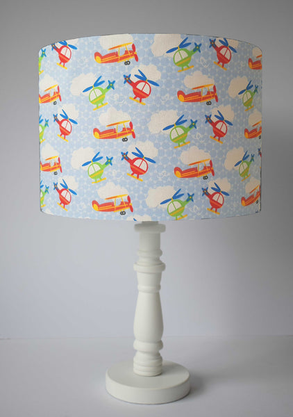 blue aviation table lampshade kids