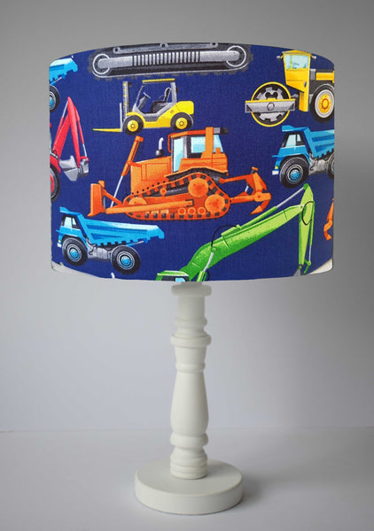 blue construction vehicles table lamp shade children