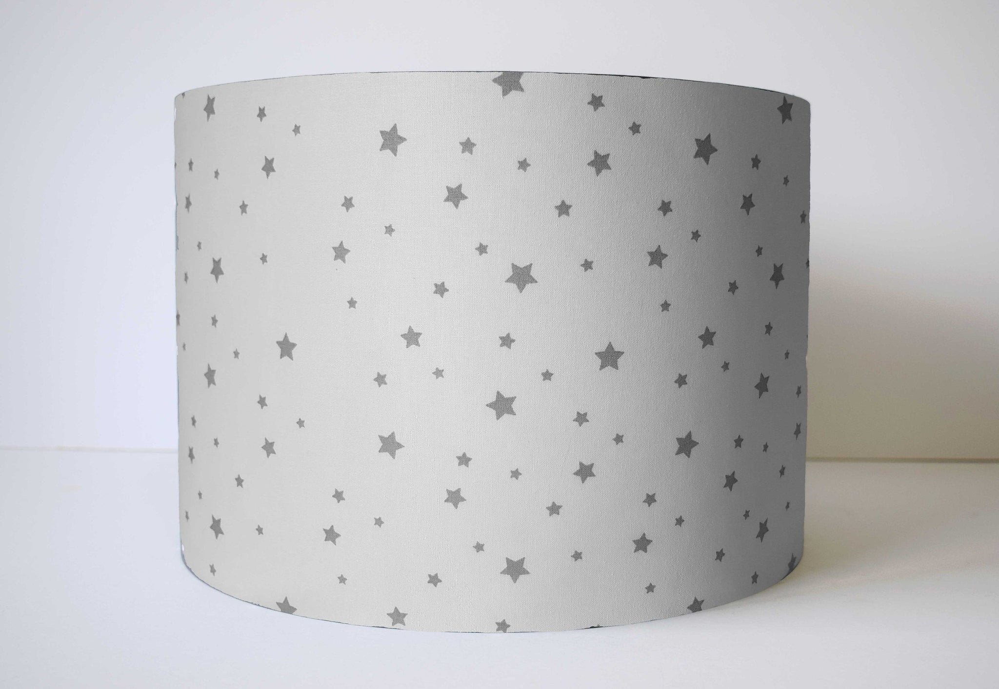 white and grey star nursery lampshade
