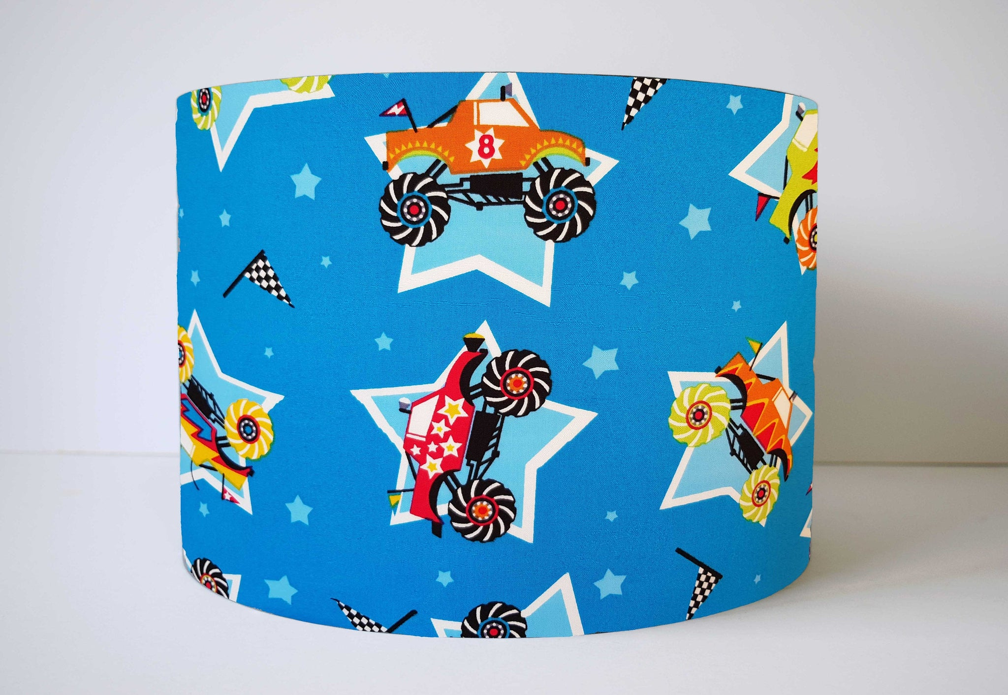 Blue Monster Trucks Lampshade, Truck and Vehicle Lightshade