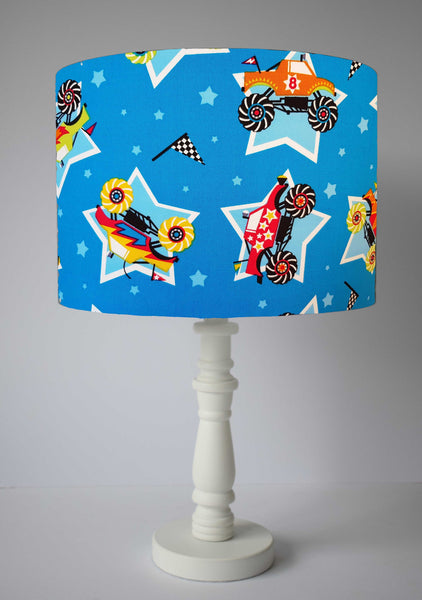 big wheeled truck blue table lampshade