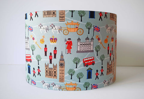 London scenic lampshade in duck egg blue