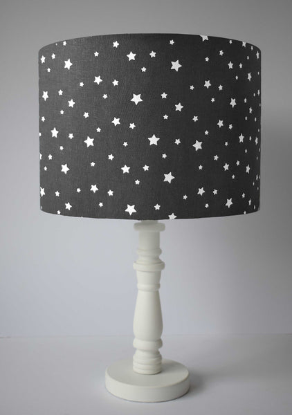 monochrome black and white star themed table lamp shade