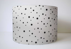 White And Black Star Fabric Lampshade, Monochrome Nursery Decor,