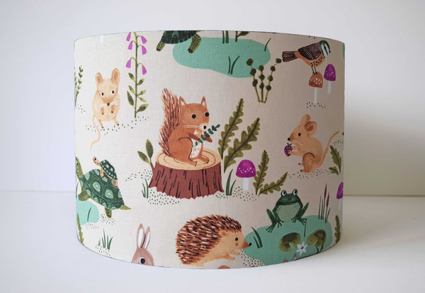 Cream Woodland Lamp Shade, Woodland Animals