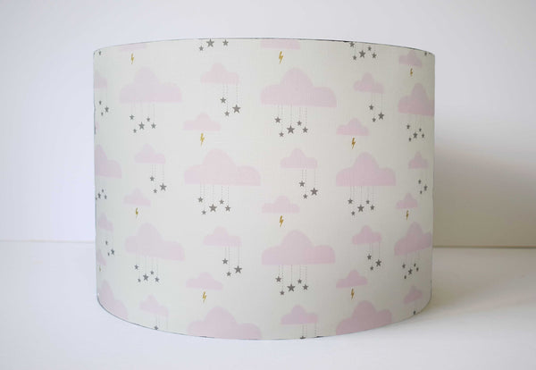 pink and gold star lampshade girl nursery