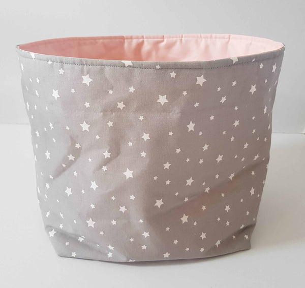fabric storage bin pink and grey