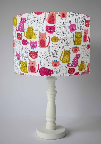 cute pink cat kitty table lampshade