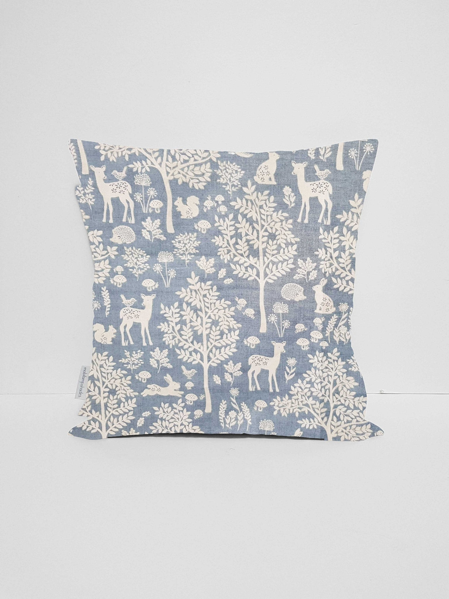 blue scandi woodland animal scatter cushion cover