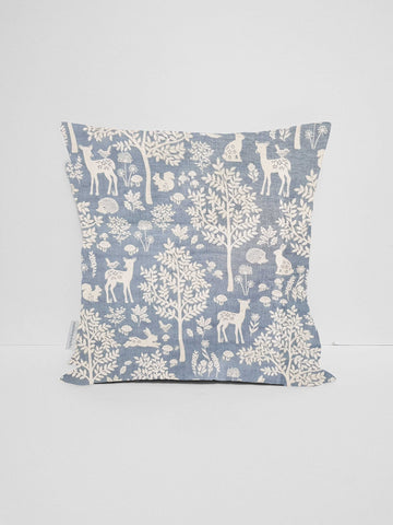 Scandi Woodland Cushion Cover, Blue Nursery Decor