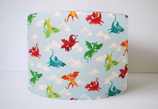 blue flying dragon lampshade kids