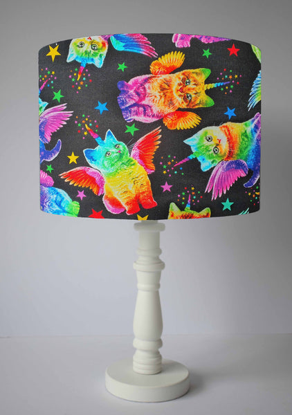 funky rainbow cat table lamp shade