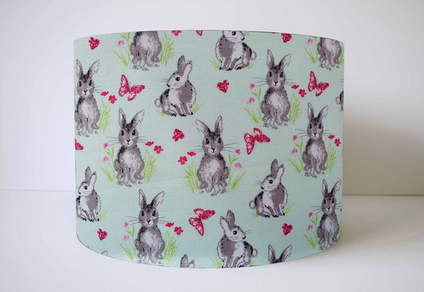 Mint Rabbit Lampshade, Rabbit Nursery Decor