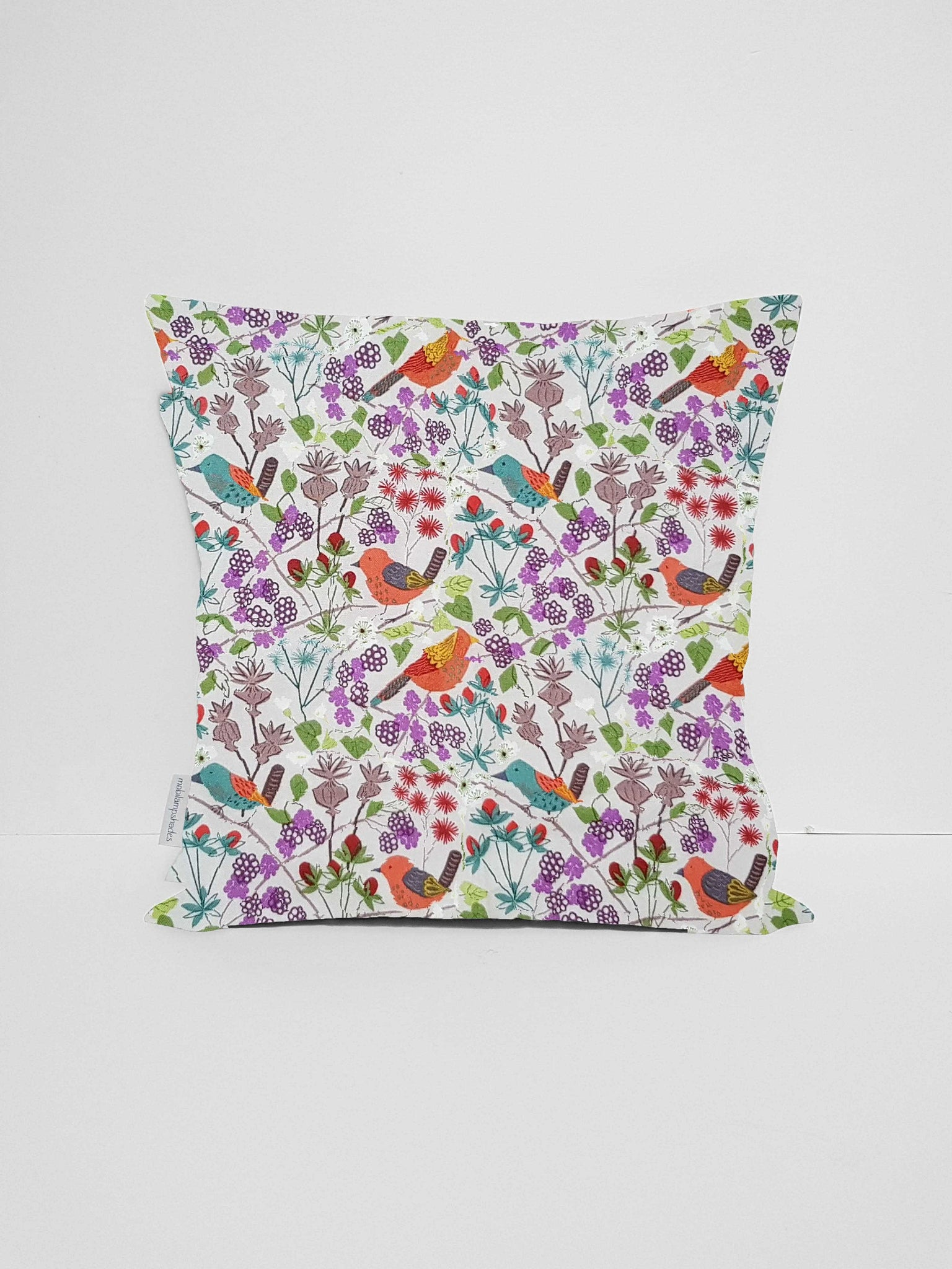 Hedgerow Bird Cushion Cover, British Countryside Home Decor
