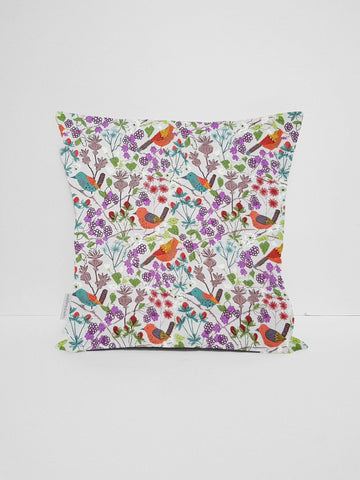 cream hedgerow birds scatter cushion cover