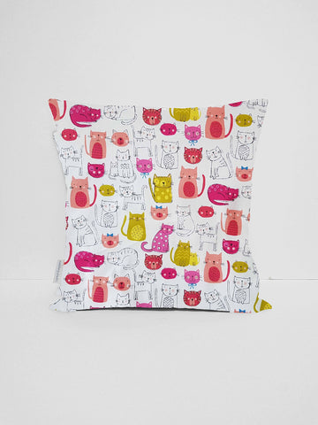 cute pink cat cushion cover