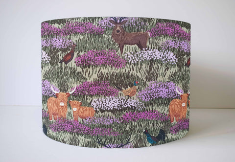 Sage green highland cow lampshade