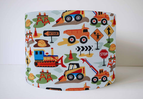 Construction Truck Nursery Lampshade, Digger And Dump Truck