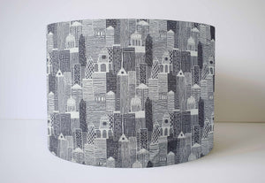 grey London city scene lampshade