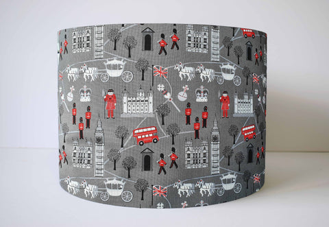 Grey London icons lampshade kids