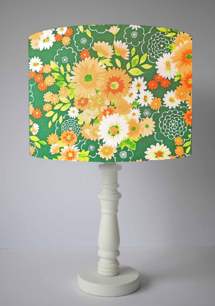 70s floral green and orange kitsch lampshade