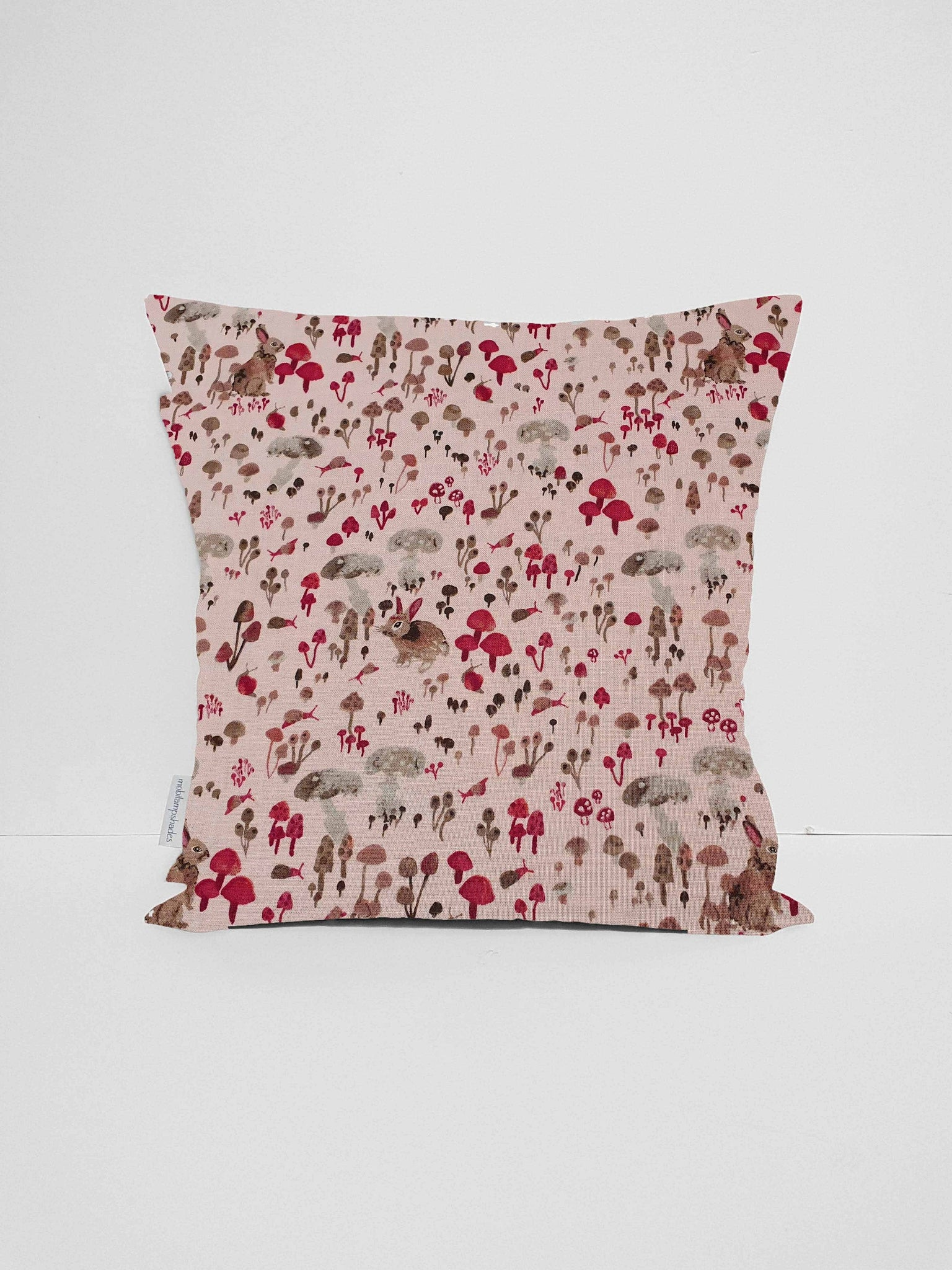 pink woodland rabbit cushion cover nursery girl decor