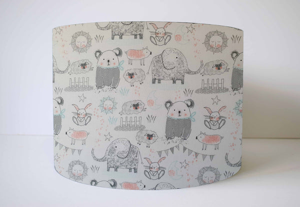 Grey Nursery Woodland Animal Lamp Shade
