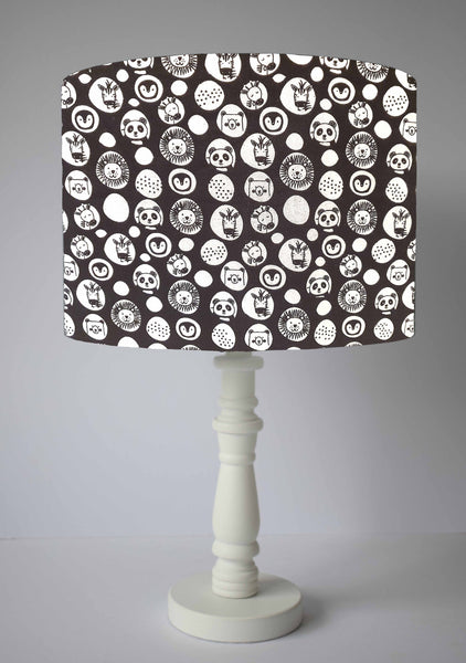 Monochrome Jungle Nursery Lampshades, Black And White Animal Baby Room Decor