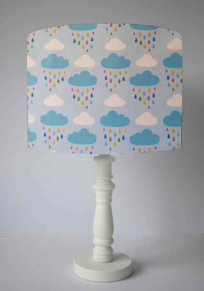 cloud and rainbow drops table lamp shade