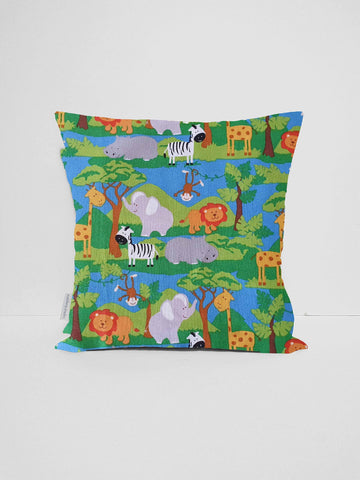 Blue and green safari animal scatter nursery cushion cover