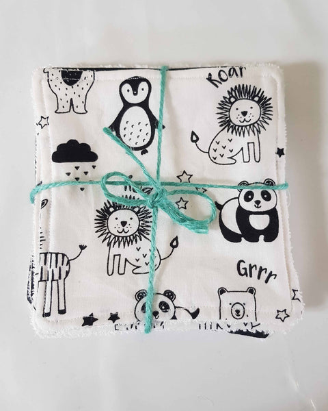 Reusable Baby Wipes, Kids Cloth Wipes, Monochrome Themed