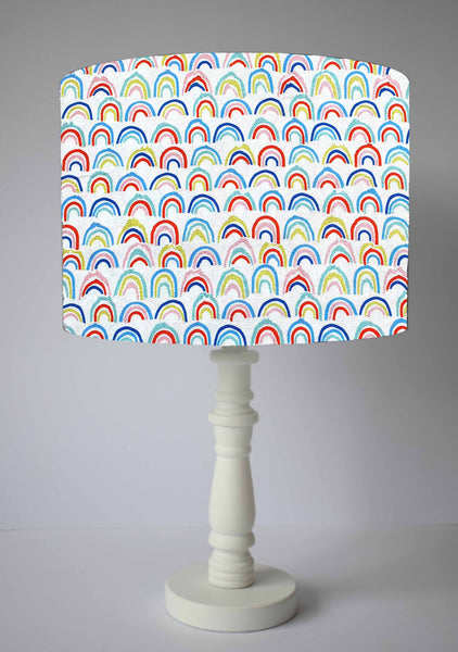 Rainbow themed table lamp shade