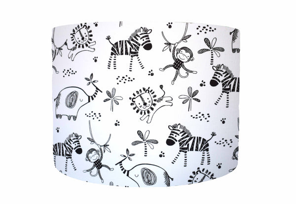 Black and White Jungle Animal Lampshade